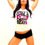 Image of *NEW* DIRTY GIRLS LIKE DIRTY BEATS Women's Crew Neck in White and Neon Pink