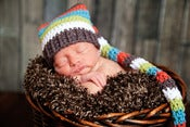 Image of Newborn Striped Elf Hat in Orange, Green, White, Brown and Blue
