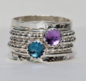 Image of Birthstone Rings Set Rose Cut London Blue Topaz Amethyst February Birthstone Ring, Stackable Rings