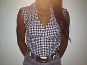 Image of checker board cow girl shirt