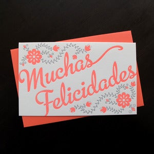 Image of 1611 - spanish letterpress congratulations card // muchas felicadades