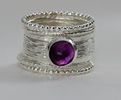 Image of Unique Silver Wedding Ring - Purple Amethyst Ring - Stacking Ring - Birthstone Ring
