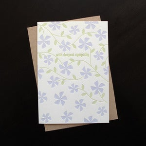 Image of 1313 - vinca letterpress sympathy card