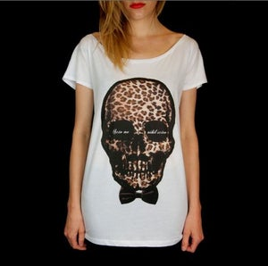 Image of T-shirt femme Skull Leopard - wide neck tee