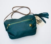 Image of -- S O L D-- one of a kind! ALL LEATHER small crossbody bag in jade