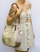 Image of ---S O L D-- ONE OF A KIND! large shoulder bag with hand cut oversized GOLD polka dots (a)