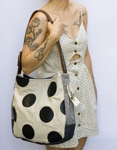 Image of --S O L D-- ONE OF A KIND! large shoulder bag with hand cut oversized black polka dots