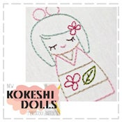Image of Kokeshi Doll Embroidery Pattern Iron On (6 variations included)