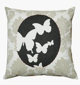 Image of NEW Handmade cushion in natural fabrics – Butterflies grey cameo