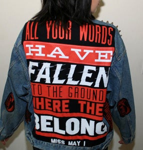 Image of SICK X Miss May I - Blue/red Denim jacket LARGE