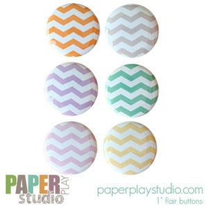 Image of Pale Chevrons - Set of 6 flair buttons