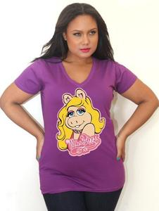Image of Miss Piggy V-Neck Tee - Tess Munster Shop - Plus Size T-Shirt