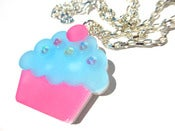 Image of Cupcake necklace blue frosting
