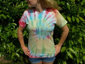 Image of Small Multicolour Hippy Tie Dye T-shirt (Free peace badge)