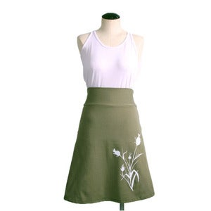 Image of Cotton Blend A-Line High Waisted Wheat Print Skirt