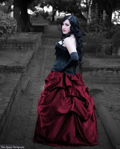 Image of  Elegant Belle Victorian Steampunk Skirt Ruby Burgundy