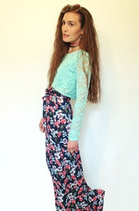 Image of floral cotton wide leg trousers