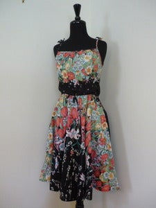 Image of Vincenti black floral sundress
