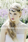 Image of Pretty Yellow Floral and Black Ivy Leaf Trim Festival Floral Hair Crown/Garland