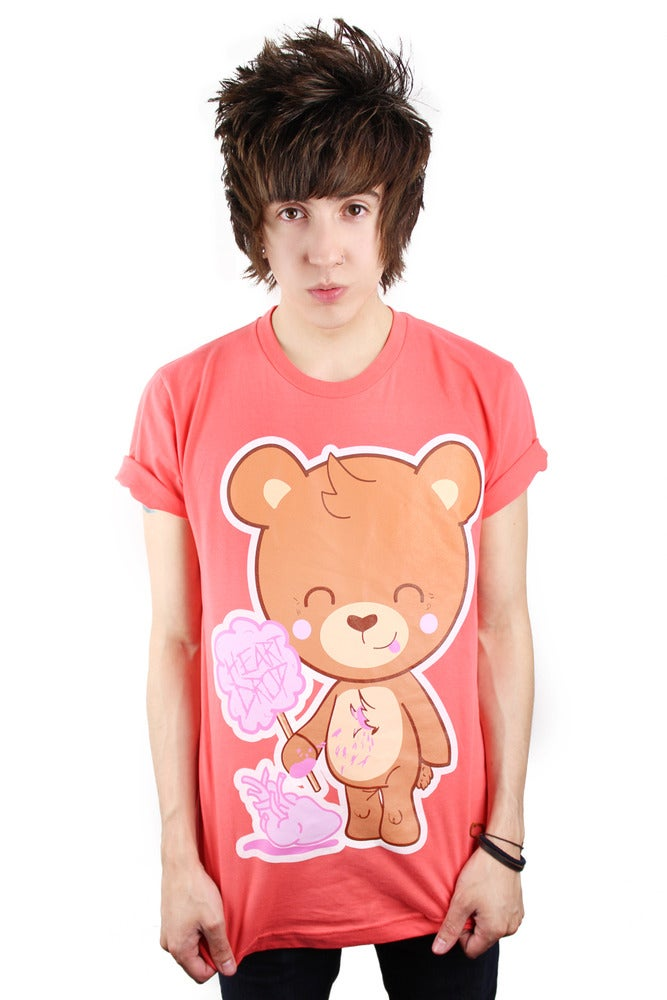 Image of Heart Drop Bear Tee - Coral