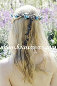Image of Pretty Turqouise Floral and Black Ivy Leaf Trim Festival Floral Grecian Olympic Hair Crown/Garland