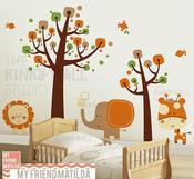 Image of Children Wall Decal Wall Sticker tree decal -Safari Animals - KK130