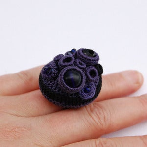 Image of Blackberry and black 'Coral collection' cluster ring