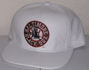 Image of Baltimore Black Sox White Leather Strap Back Hat Cap