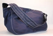 Image of SFV MERCANTILE Newspaper Boy Riveted Navy Canvas Bag with Fixed Shoulder Strap 