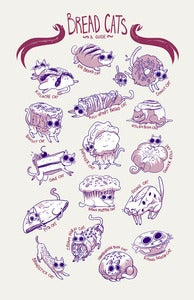 Image of Screen Print - &quot;Cat Breads: A Guide&quot;