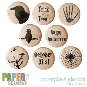 Image of Oct 31st - Set of 8 flair buttons