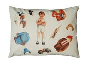 Image of Handmade cushion on organic cotton  Davide vintage paper doll