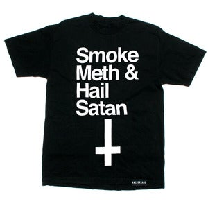 Image of Smoke Meth & Hail Satan Black T-Shirt