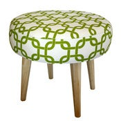 Image of Footstool - Chartreuse Geometric