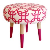 Image of Footstool - Hot Pink Geometric