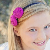 Image of double trouble rosette on black satin u shape headband {choose your color}