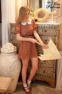 Image of Ice Cream Scoop Scalloped Edge Dress (Ochre Dot Print)
