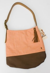 Image of - S O L D - 20% OFF!  bright coral + leather two-tone shoulder bag (c)