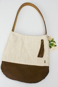 Image of - S O L D - vintage lace + leather two-tone shoulder bag (c)