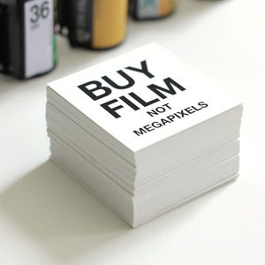 "Image of BUY FILM NOT MEGAPIXELS Stickers 2"" x 2"""