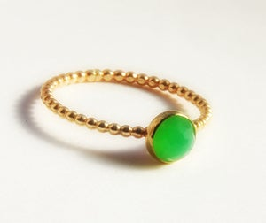 Image of Rose Cut Chrysoprase Ring- Dainty Stackable Gold Ring- Size 3, 4, 5, 6, 7, 8, 9, 10