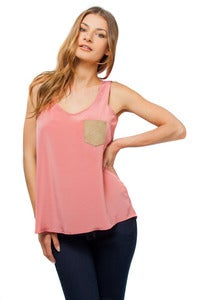 Image of Leather Pocket Tank Top