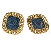 Image of Candice Stud Earrings - Navy Stingray