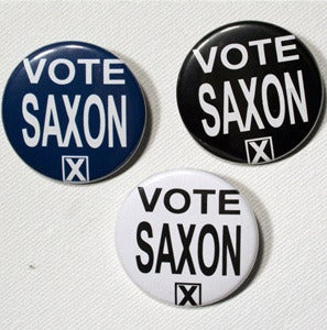 "Image of Vote Saxon 1.5"" Pinback Button"