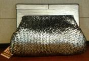 Image of Melie Bianco Daisy Metallic Wood Frame Clutch