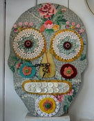 "Image of ""Time Will Tell"" Sugar Skull Lino  Clock"