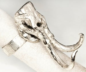 Image of Woolly Mammoth Skull - White Bronze Ring