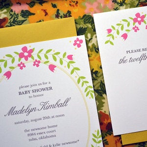 Image of Floral Party Invitations with RSVP Cards