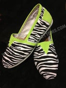 Image of Zebra Print TOMS w/ Lime Green Trim