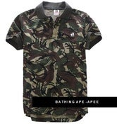 Image of NEW! A Bathing Ape AAPE Green CAMO Polo Shirt Collection